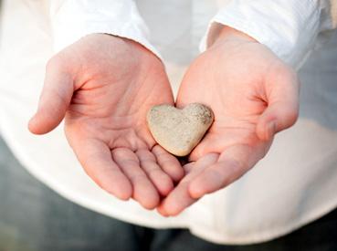 Holding heart-rock
